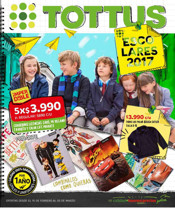 Ofertas de Tottus, escolares tottus
