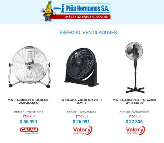 Ofertas de Ferretería Piña Hermanos, especial ventiladores