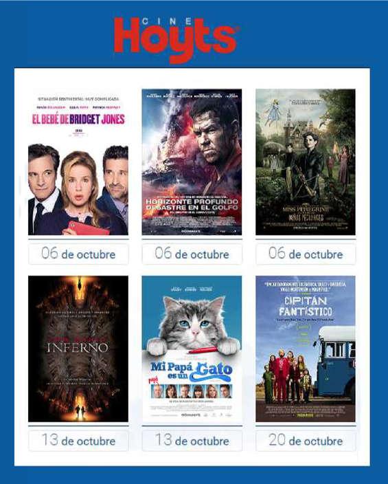 Ofertas de Cine Hoyts, estrenos octubre