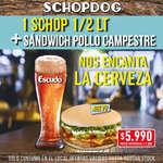 Ofertas de Schop Dog, 1 SCHOP 1/2 lt + 1 sandwich