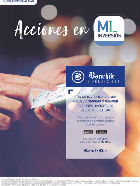 Ofertas de Banco de Chile, Acciones En Mi Inversion